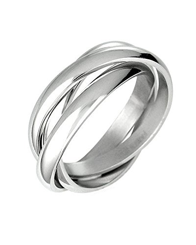 - iJewelry2 Triple Russian Interlocked Stainless Steel Men Unisex Wedding Band Rings size 9