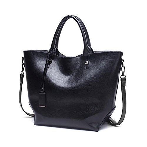 Zippers sacs Top handle Pu Femme Bandoulière Sacs Cuir À Noir Main Agoolar RTBwq55
