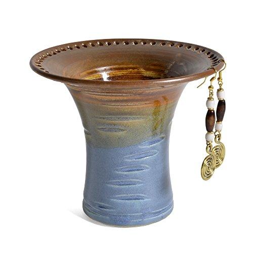 Slate Vase - Barb Lund Pottery Earring Holder, Burnt Sienna/Slate