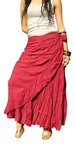 Billy's Thai Shop Sexy Wrap Skirt Pleated Gypsy Flamenco Long Skirts for Women, Bordeaux -