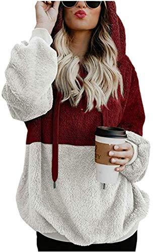 (Womens Fuzzy Hooded Casual Oversized Long Sleeve Loose Sweatshirt Pockets Outwear wine red l)