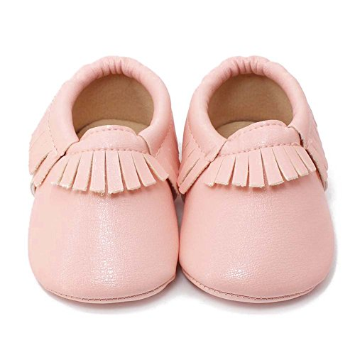 Delebao Unisex Baby Soft Sole Tassels Crib Shoes Moccasins Loafers (12-18 Months, Pink)
