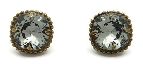 SORRELLI Dark Grey Cushion Cut Antique Goldtone Post Stud (Sorrelli Designer Earrings)