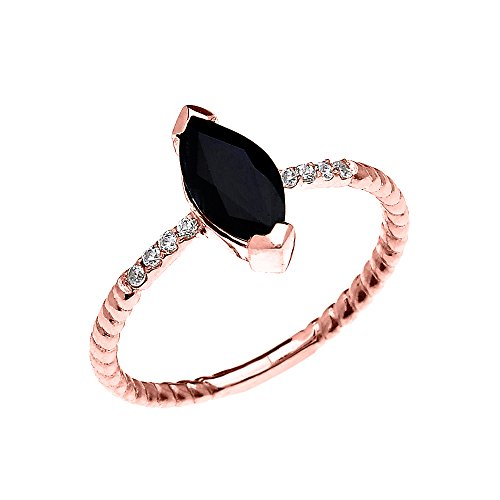14k Rose Gold Dainty Solitaire Marquise Black Sapphire and Diamond Rope Design Engagement/Promise Ring(Size 5) ()