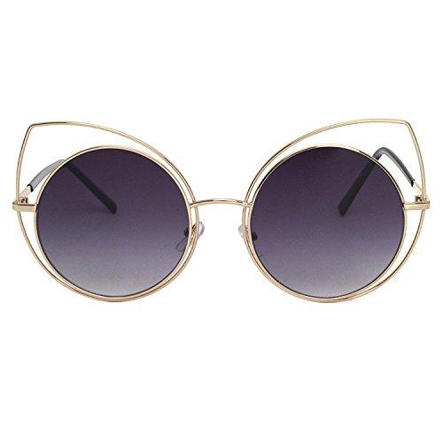 Aoligei Grande boîte de chat oreilles ronde armature personnalité de star lunettes de soleil lunettes de soleil femmes hommes rue tourné lunettes B