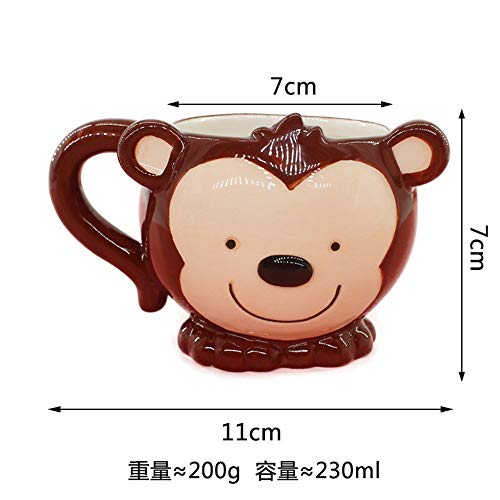 Nordic cartoon creative animal monkey ceramic dish water cup spoon children cutlery set home baby food supplement bowl water cup 7x7x11cm
