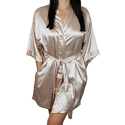 Womens Satin Kimono Bridesmaid Short Silky Robe With Pockets - Champagne M/L
