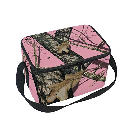 Lunch Bag Mossy Oak Pink Camo Womens Insulated Lunch Tote Zipper Kids Lunch Box