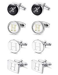 LOYALLOOK 4PCS Men's Fashion Dazzle Tuxedo Shirts Cufflinks Initial Letter Engraved Shirt Cufflink Alphabet Set Business Wedding Gift
