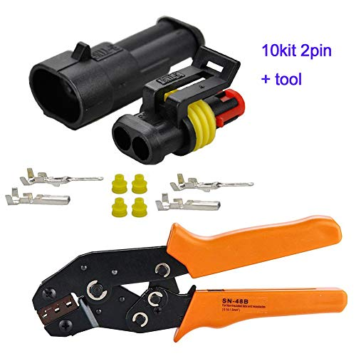 HIFROM 10 Kit 2 Pin Way Waterproof Electrical Connector 1.5mm Series Terminals Heat Shrink Quick Locking Wire Harness Sockets 20-16 AWG with Ratcheting Crimping Plier Tool by HIFROM