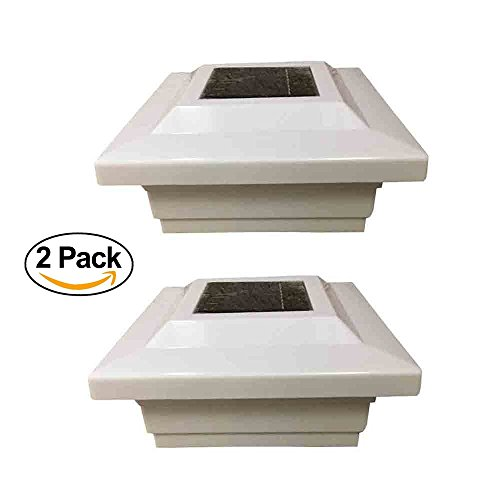 Solar Post Cap Low Profile 4 SMD LED White 5X5 Vinyl & Wood ( 2 Pack )PL252 by Garden Sunlight