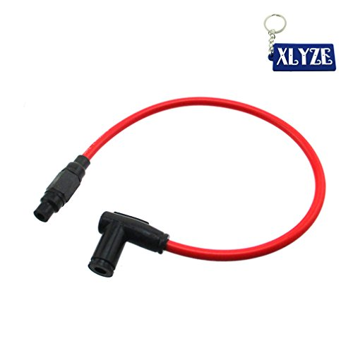 XLYZE 8.8mm Twin Core Racing Power Cable Ignition Coil Motorcycle ATV Dirt Pit Bike Go Kart Scooter (Red)