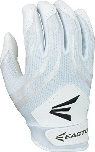 Easton Hyperskin HF3 Fastpitch Batting Gloves, White/White, Medium