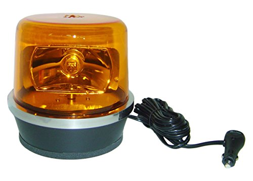 North American Signal 112HRMX-A Halogen Rotating Beacon, Magnetic Mount, (North American Plug)