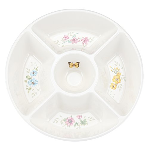 Lenox Butterfly Meadow Melamine 5 Part Divided Server, White (Love Round Serving Plate)