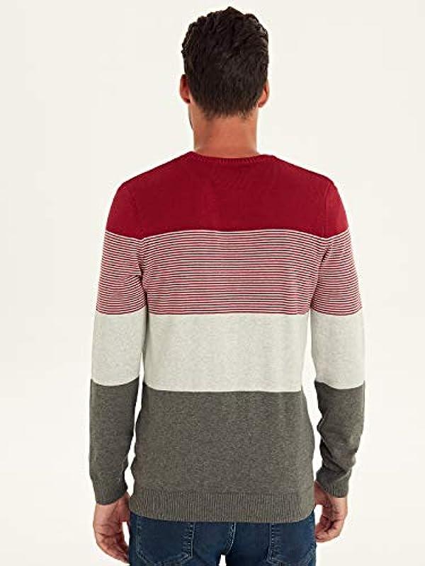 LC WAIKIKI cieńszy męski sweter z dzianiny w paski, z okrągłym kołnierzem: Odzież