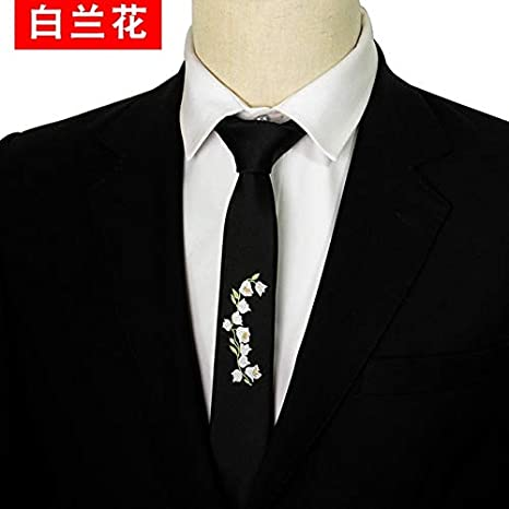 LFLJIE Hombres Personalidad Bordado Negro Slim Tie Corbata de ...