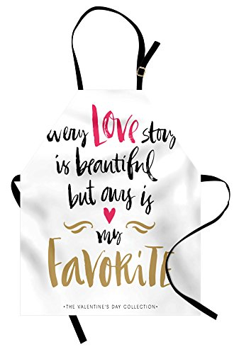 Ambesonne Valentines Day Apron, Every Love Story is Beautiful but Ours is My Favorite Romantic Idea, Unisex Kitchen Bib Apron with Adjustable Neck for Cooking Baking Gardening, White Black Pink