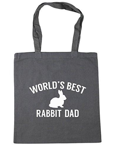 HippoWarehouse del mundo mejor papá de conejo bolsa de la compra bolsa de playa 42cm x38cm, 10litros gris grafito