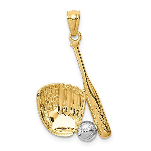 14K Yellow Gold & White Rhodium Plated Baseball Glove Bat Ball Pendant