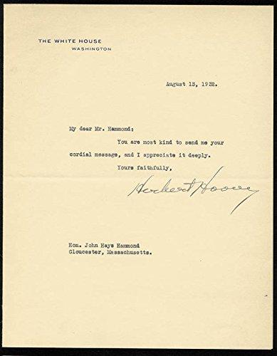 President Herbert Hoover Typed Letter Signed 08/13/1932