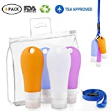 Travel Bottles Set, Leakproof Silicone Refillable Portable Travel Containers, 3 oz TSA Squeezable Travel Tube Sets With Shower Lanyard and Carabiner for Shampoo, Conditioner, Lot (Multicolor)