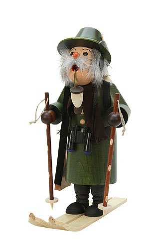 German Incense Smoker Forester with Ski 26,5 cm / 10 inches - Christian Ulbricht by Christian Ulbricht