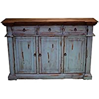 Turquoise Rustic Sofa Table TV Stand Console Real Wood Entryway Narrow Real Wood