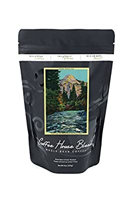 North Dome and Merced River from Happy Isles (8oz Whole Bean Small Batch Artisan Coffee - Bold & Strong Medium Dark Roast w/ Artwork)