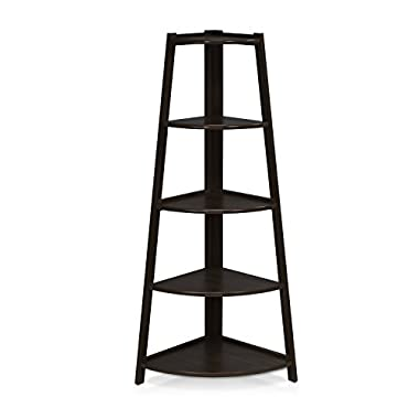 Furinno FNAJ-11112-1 5-Tier Corner Ladder Garden Shelf, Espresso