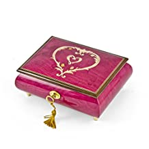 Artistic Ornament Style Heart Outline Wood Inlay Musical Jewelry Box - Tiny Bubbles (Lpobber / Don Ho) - SWISS