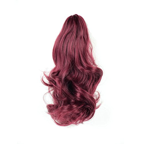 "FESHFEN 14"" Big Wavy Claw Curly Synthetic Ponytail Hair Extensions Clip In/On Drawstring Ponytail Extensions Hair Pieces For Women 110g(Red Wine)"