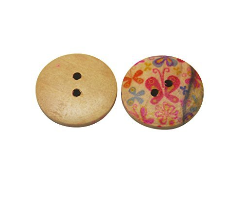 Amanaote Butterfly Pattern Wooden Button Round 20mm Diameter with 2 Holes for Craft Sewing DIY Home Textile Pack of 40