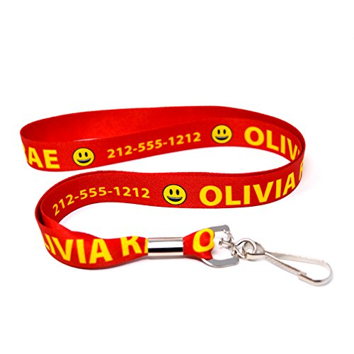 Custom Red Lanyard, Personalized with Emojis by Hot-Dog-Collars. One 20 Inch ID Badge Lanyard -