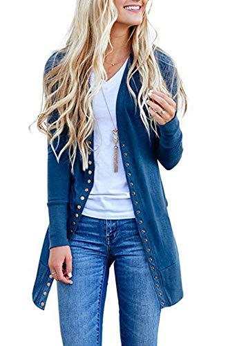 ASSKDAN Sweater Cardigan Long Tricots Femme Gilet avec Boutons Outerwear Blouson Manteau Tunique Bleu