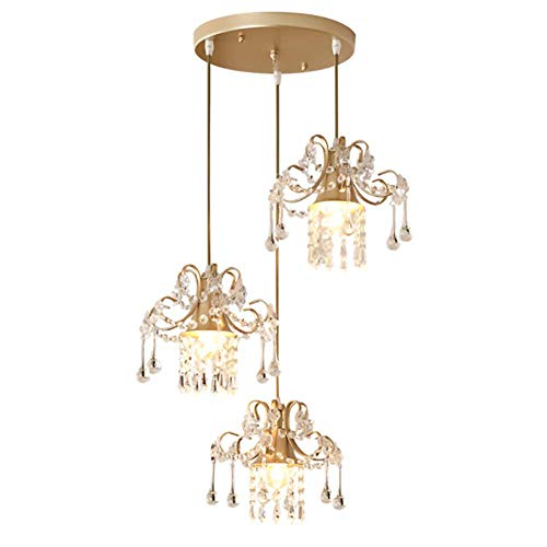 - HAIXIANG Crystal European Restaurant Hardware Chandelier Three Pendant Lamp Bedroom Living Room Ceiling Fixtures
