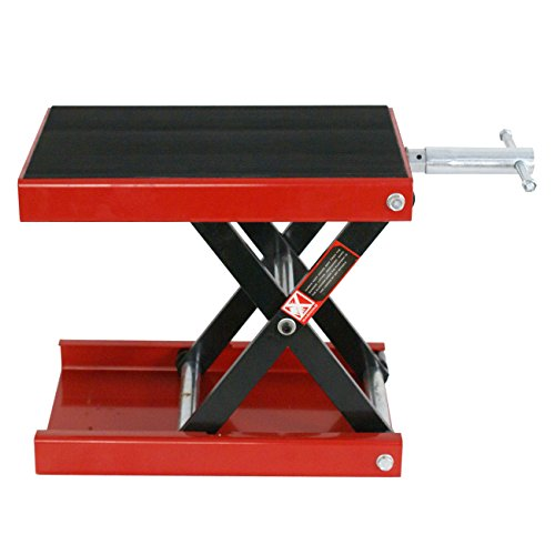 Solid steel Wide Deck Scissor Jack Lift Stand Touring Bike Capacity 1100 lbs w/ Rubber Mat Platform