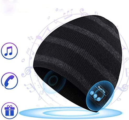 Wireless Bluetooth Beanie Music Hat Knitted Music Hat Built in Mic Stereo Speakers, Winter Warm Cap Hat and Rechargeable Battery Winter Christmas Tech Gift for Men, Women and Teen Streak, Black2