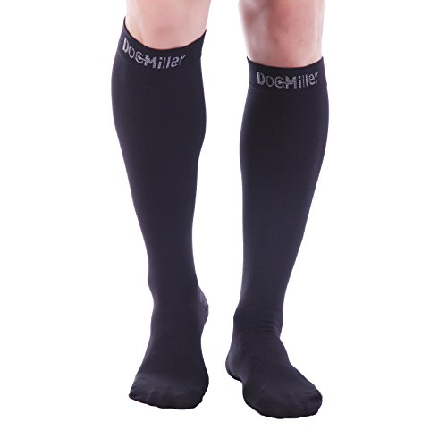 - Premium Calf Compression Sleeve 1 Pair 20-30mmHg Strong Calf Support Fashionable COLORS Graduated Pressure for Sports Running Muscle Recovery Shin Splints Varicose Veins Doc Miller (Black Sock, Large)