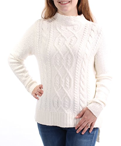 Kensie Womens Cable Knit Ribbed Trim Mock Turtleneck Sweater Ivory XL