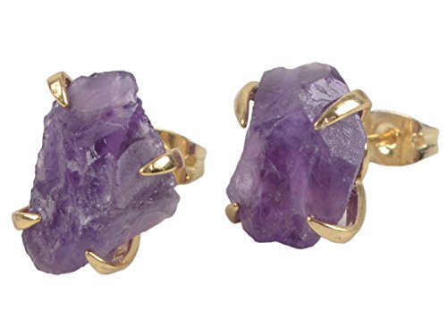 ZENGORI Amethyst Stud earrings for Women Gemstones birthstone Jewelry