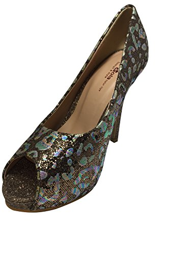 Women's Supermodel Qtpie Floral Print colorful Dress Pump High Heels Peep To, Italian Style Shoes Brown