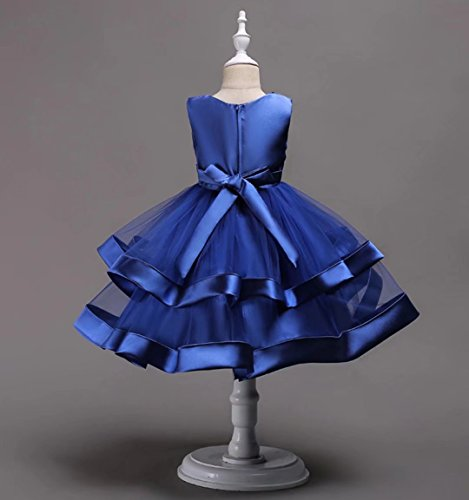 AYOMIS Girls Lace Bridesmaid Dress Wedding Pageant Dresses Tulle Party Gown Age 3-9Y(Blue,5-6Y) by AYOMIS (Image #4)