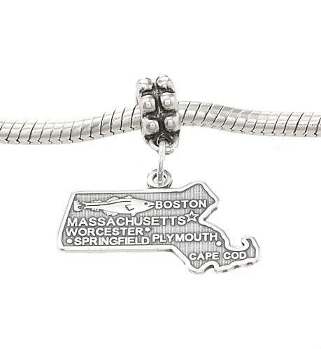 Sterling Silver Dangling State of Massachusetts European Bead Charm Jewelry Making Supply Pendant Bracelet DIY Crafting by Wholesale Charms]()