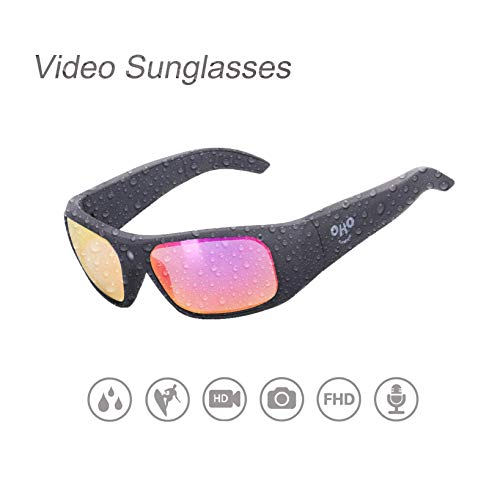OhO sunshine Waterproof Video Sunglasses,32G Ultra 1080P HD Video Recording Camera and Polarized UV400 Protection Safety Lenses,Unisex Sport Design (Mirror Rose Polarized) by OhO sunshine