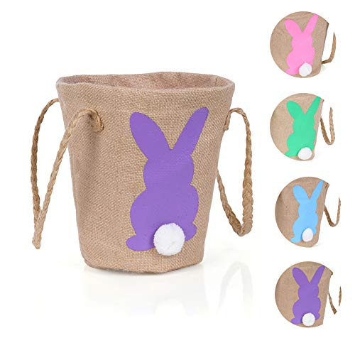 Warmhol Easter Egg Basket for Kids Bunny Burlap Bag to Carry Candy and Gifts for Festival Party Purple -