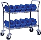 Quantum Storage Systems, Wire Shelf Cart With Quick Pick Bins, Three Shelf Units, Wrc3-1836-1867, Number Of Bins: 15, Bin Description L X W X H: 18 1/2 X 6 5/8 X 7, Wrc3-1836-1867
