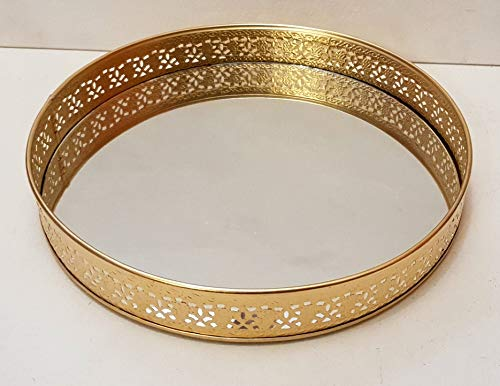 GiftingBestWishes Round Metal Laser Cut Platter/Tray/Gift Tray with Glass Base Price & Reviews