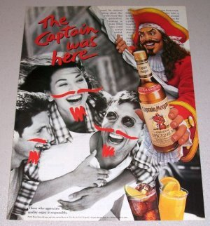 MAGAZINE ADVERTISEMENT For Captain Morgan Spiced Rum Moustache 1995]()