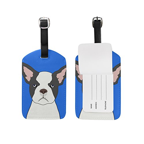 My Daily French Bulldog Luggage Tag PU Leather Bag Tag Travel Suitcases ID Identifier Baggage Label
